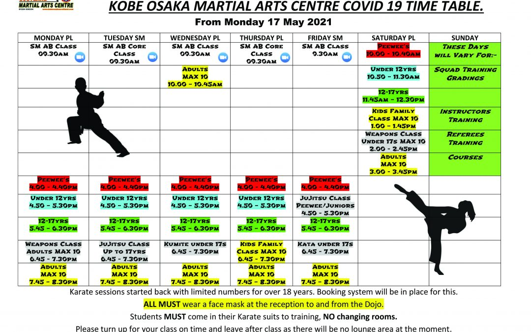 Updated Timetable from the 6th June