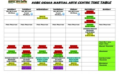 New level 0 timetable for Falkirk Dojo and Glasgow classes, starting from Monday 23rd August.
